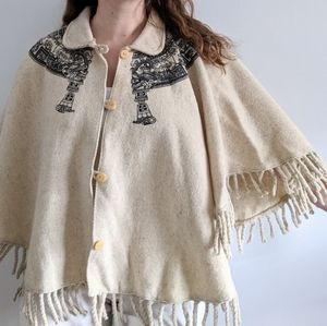 1960's - 70's Cream Wool Knit Cape with Fringe